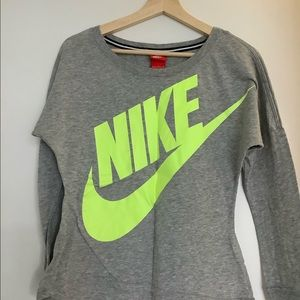Nike Grey/Fluorescent Long-sleeved Top